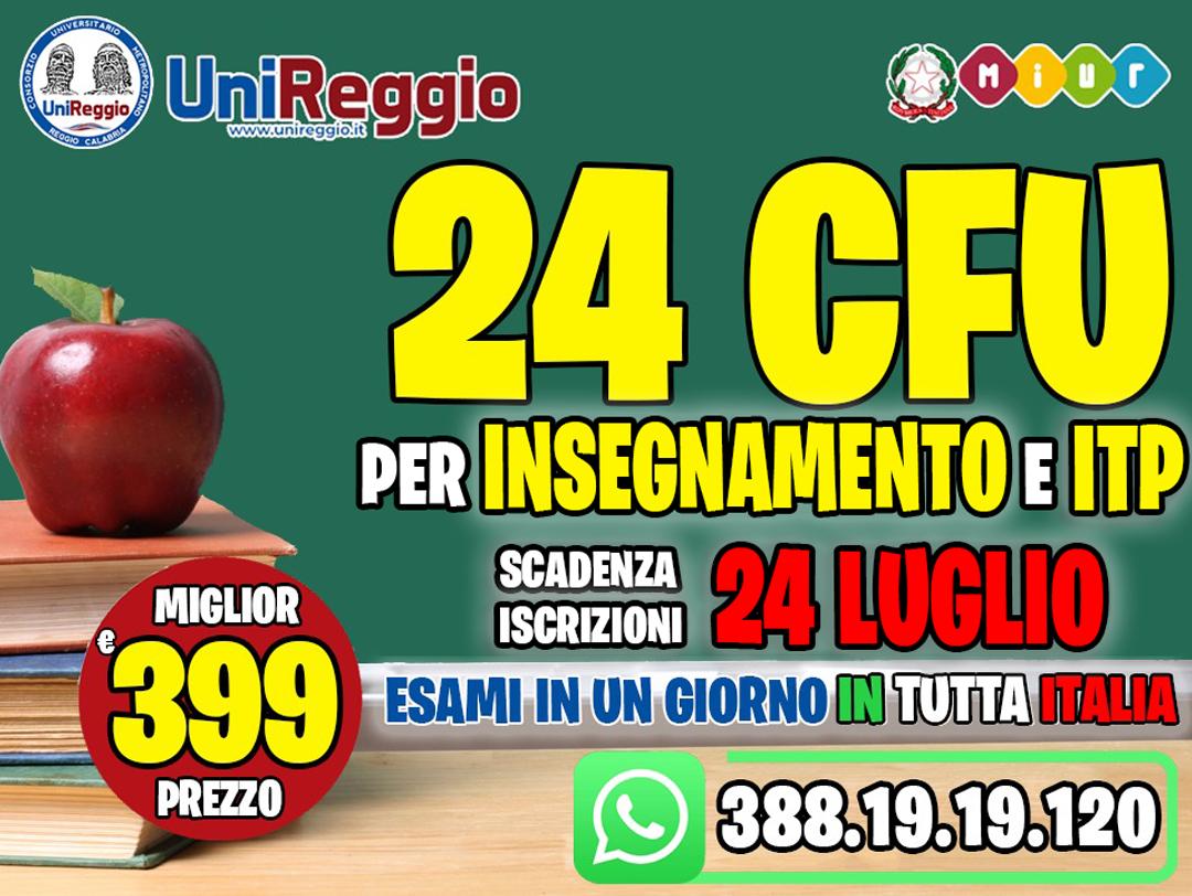 CORSI SINGOLI per i 24CFU ANCHE PER ITP in 4 MODULI ONLINE a €399.00 MIGLIOR PREZZO IN ITALIA!